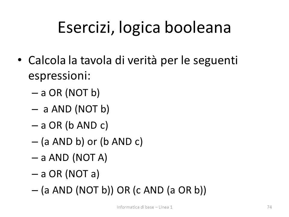 Esercizi, logica booleana Calcola la tavola di verità per le seguenti espressioni: – a OR (NOT b) – a AND (NOT b) – a OR (b AND c) – (a AND b) or (b AND c) – a AND (NOT A) – a OR (NOT a) – (a AND (NOT b)) OR (c AND (a OR b)) 74Informatica di base – Linea 1