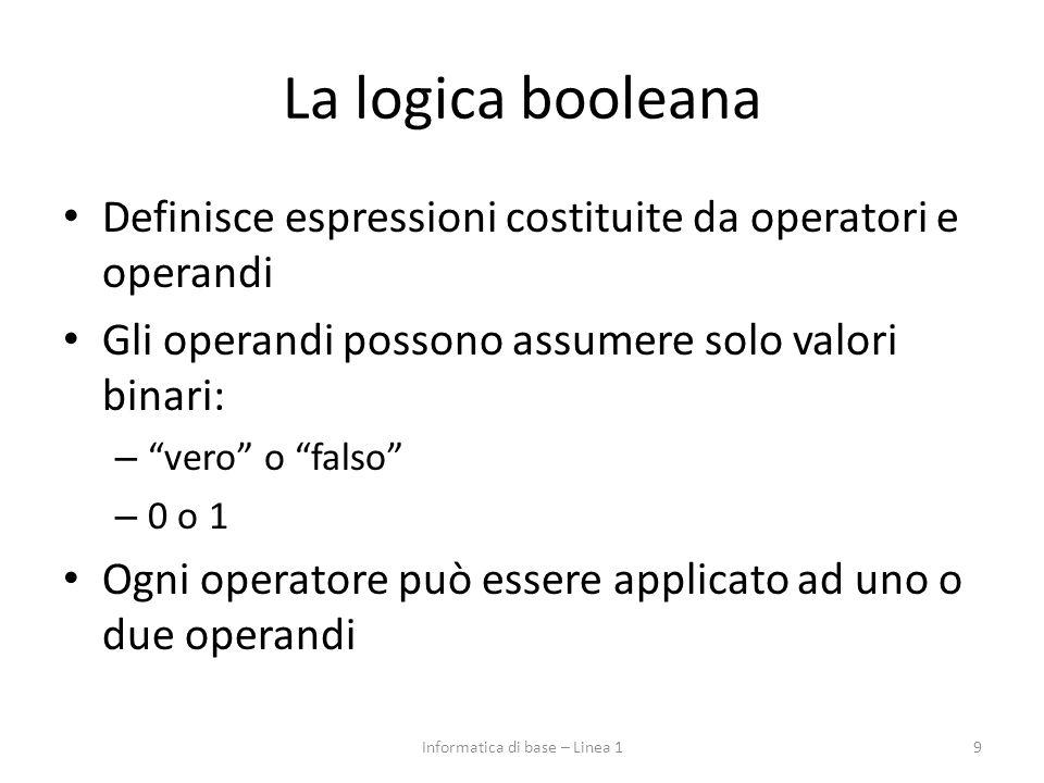La logica booleana Definisce espressioni costituite da operatori e operandi Gli operandi possono assumere solo valori binari: – vero o falso – 0 o 1 Ogni operatore può essere applicato ad uno o due operandi 9Informatica di base – Linea 1