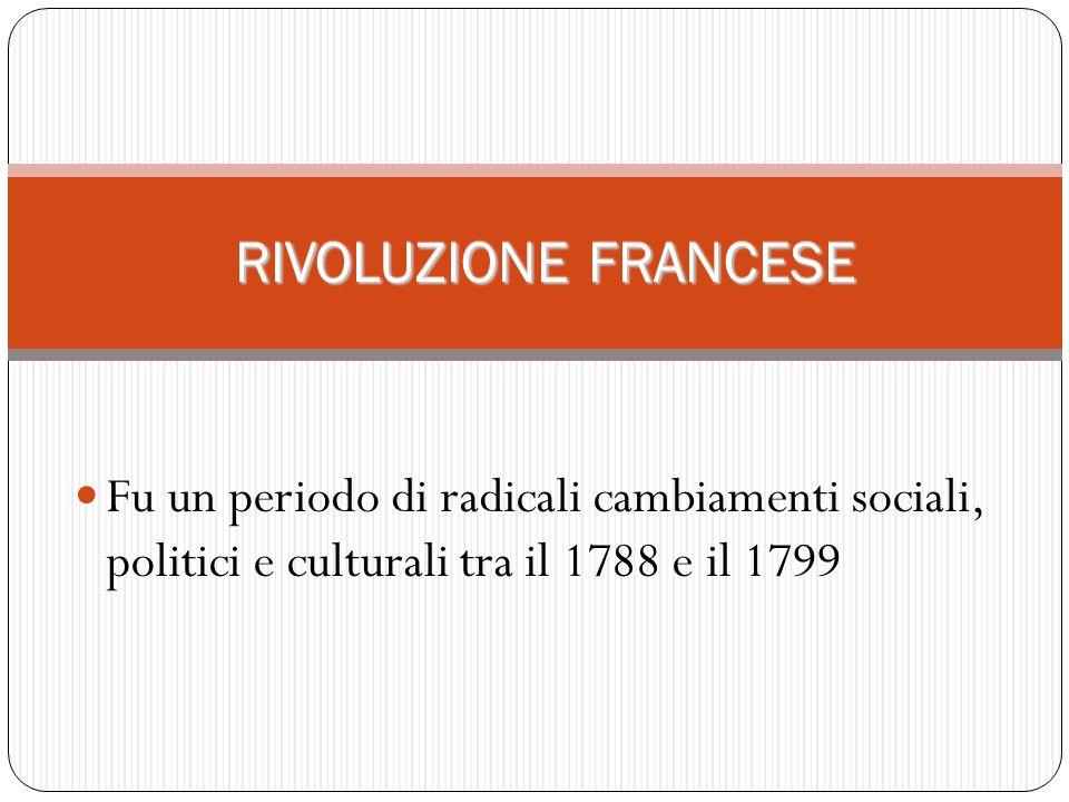RIVOLUZIONE FRANCESE Fu un periodo di radicali cambiamenti sociali, politici e culturali tra il 1788 e il 1799