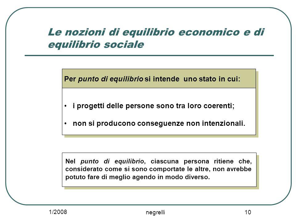 1/2008 negrelli 10 Le nozioni di equilibrio economico e di equilibrio sociale Per punto di equilibrio si intende uno stato in cui: i progetti delle persone sono tra loro coerenti; non si producono conseguenze non intenzionali.