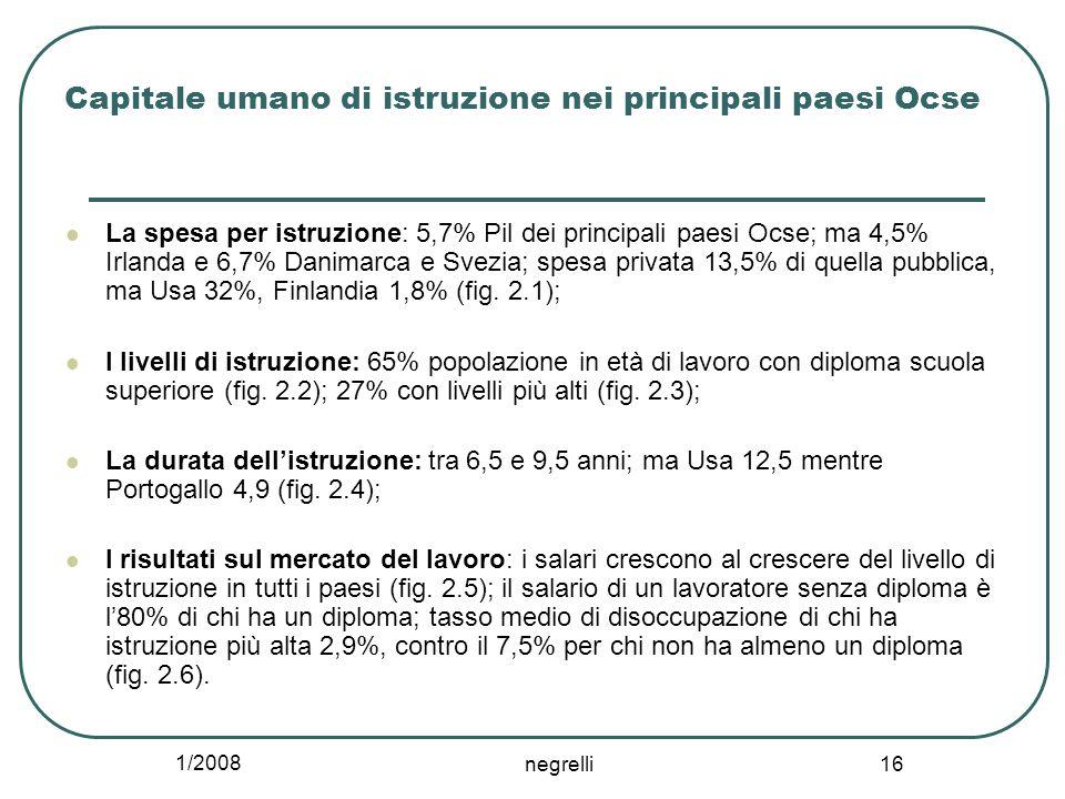 1/2008 negrelli 16 Capitale umano di istruzione nei principali paesi Ocse La spesa per istruzione: 5,7% Pil dei principali paesi Ocse; ma 4,5% Irlanda