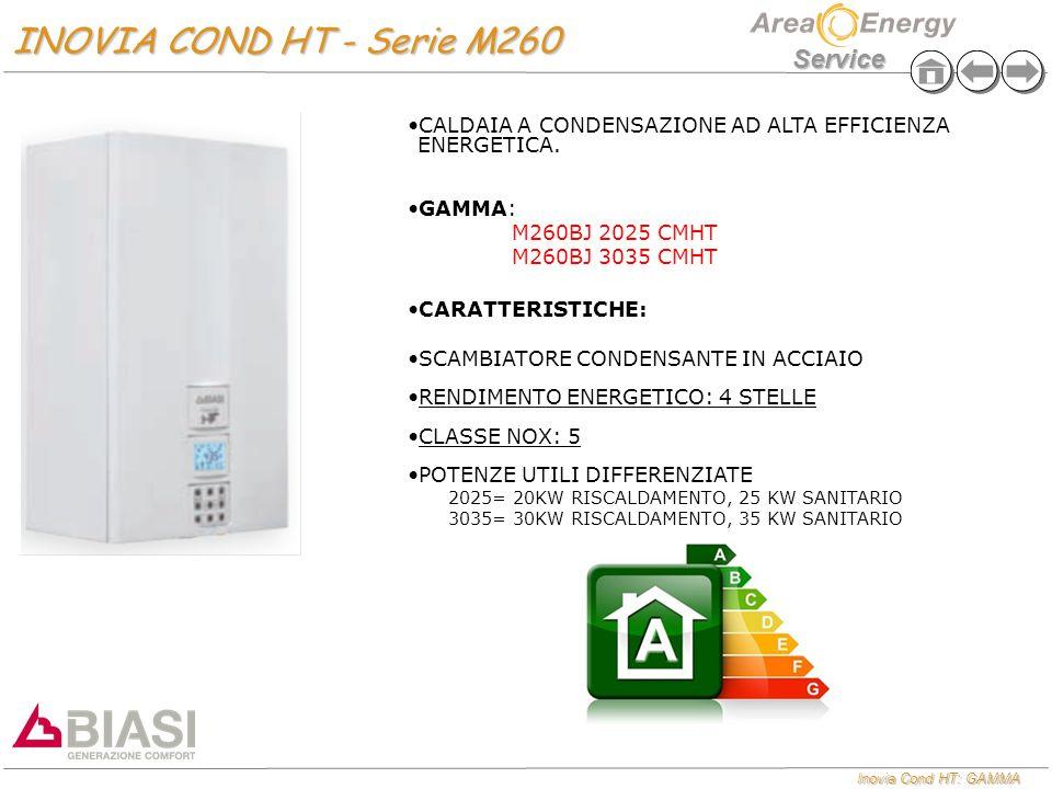 Inovia Cond HT: GAMMA Service INOVIA COND HT - Serie M260 INOVIA COND HT - Serie M260 CALDAIA A CONDENSAZIONE AD ALTA EFFICIENZA ENERGETICA.CALDAIA A
