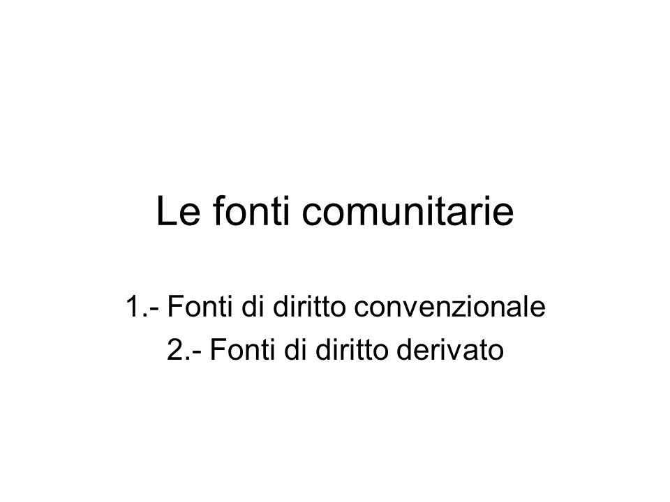 Le fonti comunitarie 1.- Fonti di diritto convenzionale 2.- Fonti di diritto derivato