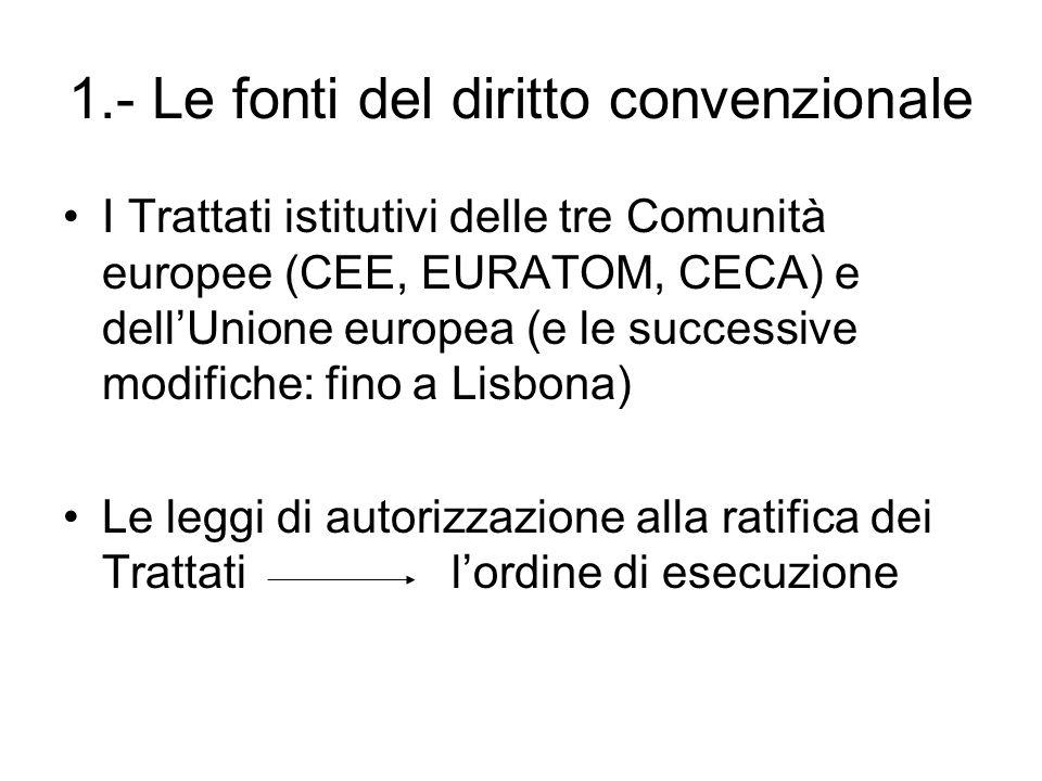 1.- Le fonti del diritto convenzionale I Trattati istitutivi delle tre Comunità europee (CEE, EURATOM, CECA) e dell'Unione europea (e le successive mo