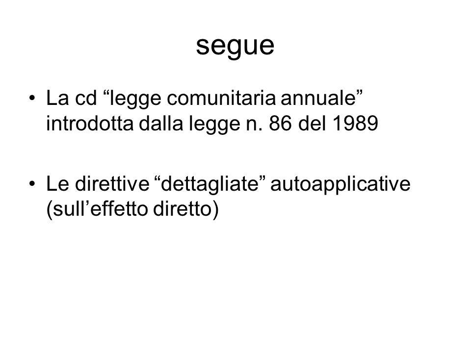 """segue La cd """"legge comunitaria annuale"""" introdotta dalla legge n. 86 del 1989 Le direttive """"dettagliate"""" autoapplicative (sull'effetto diretto)"""
