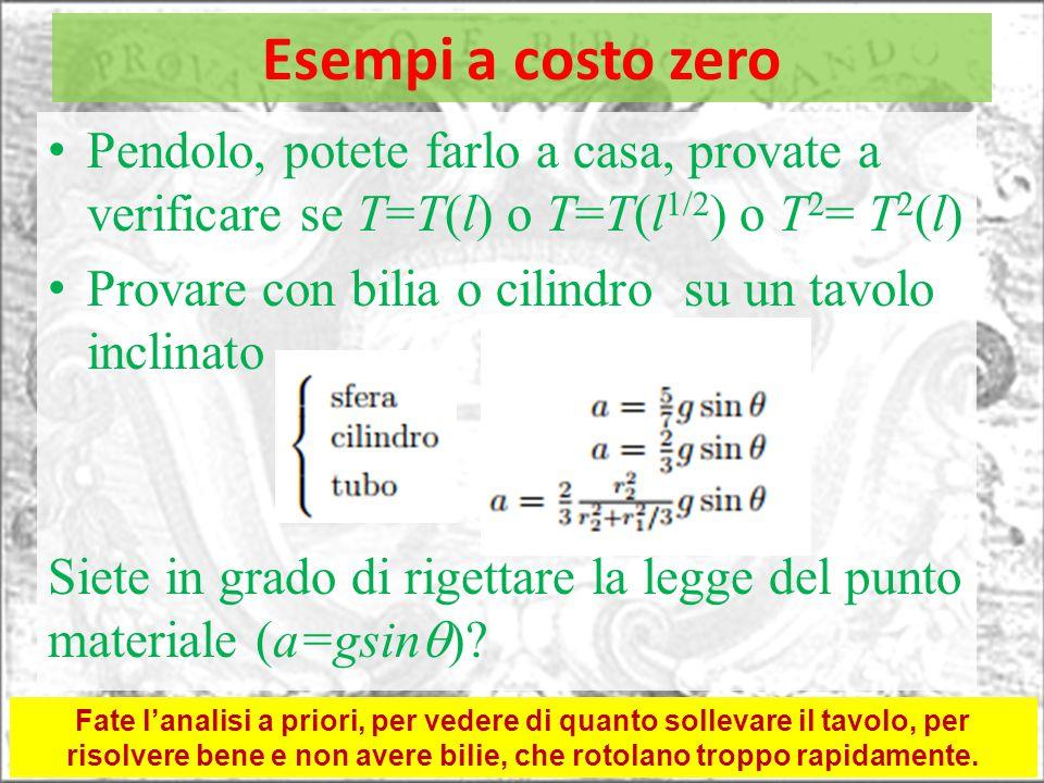 Esempi a costo zero Pendolo, potete farlo a casa, provate a verificare se T=T(l) o T=T(l 1/2 ) o T 2 = T 2 (l) Provare con bilia o cilindro su un tavo