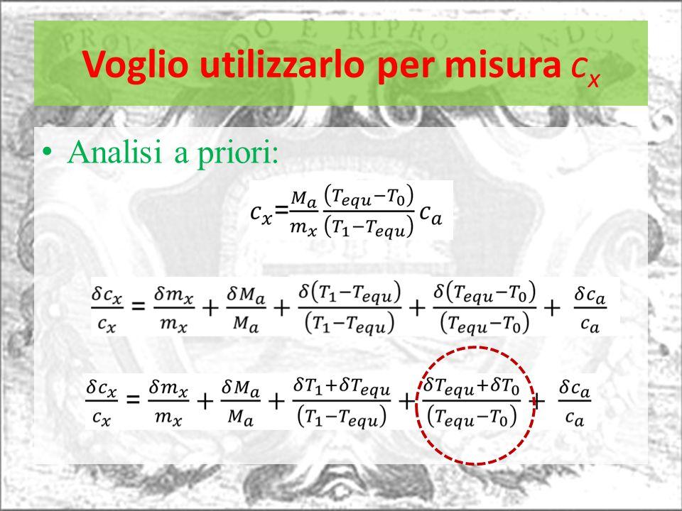 Voglio utilizzarlo per misura c x Analisi a priori: