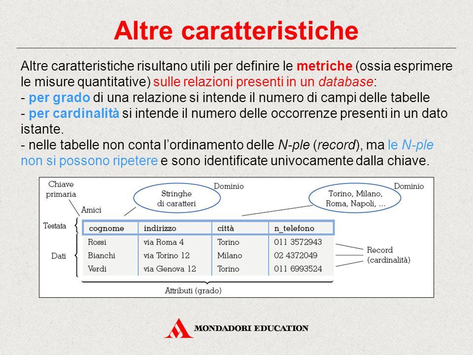 Altre caratteristiche Altre caratteristiche risultano utili per definire le metriche (ossia esprimere le misure quantitative) sulle relazioni presenti