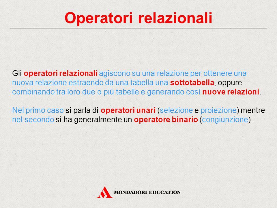 Operatori relazionali Gli operatori relazionali agiscono su una relazione per ottenere una nuova relazione estraendo da una tabella una sottotabella, oppure combinando tra loro due o più tabelle e generando così nuove relazioni.