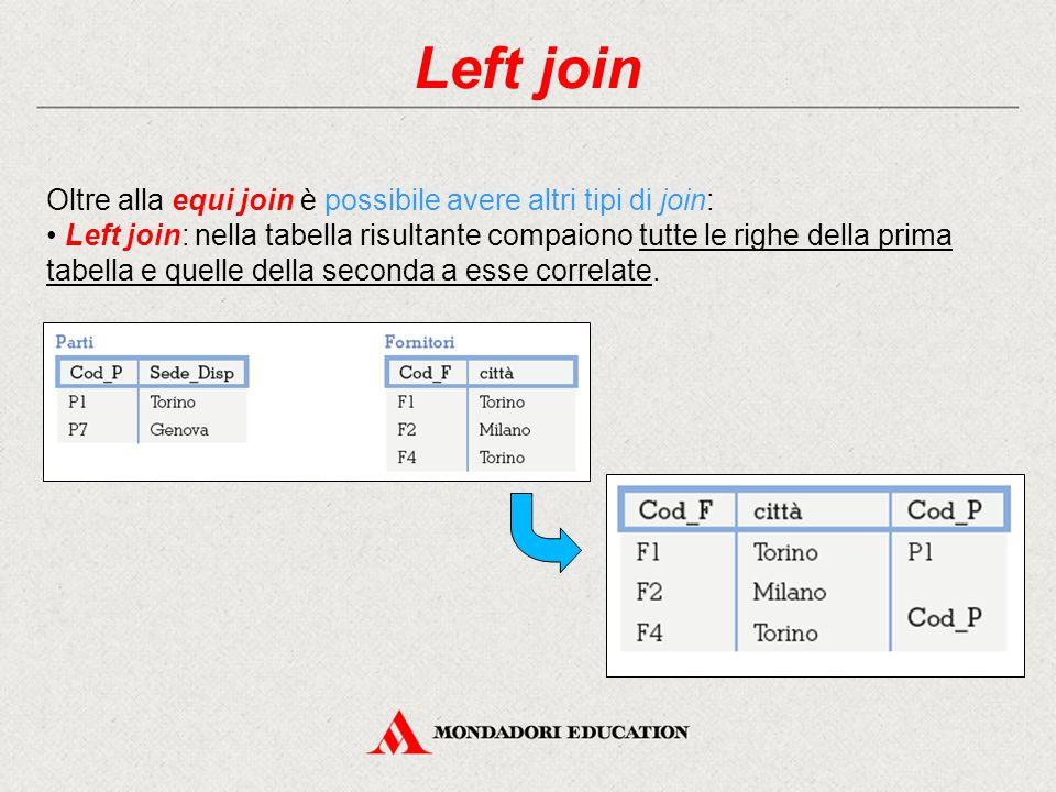 Left join Oltre alla equi join è possibile avere altri tipi di join: Left join: nella tabella risultante compaiono tutte le righe della prima tabella