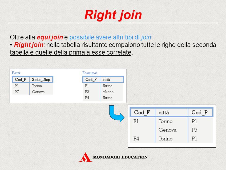 Right join Oltre alla equi join è possibile avere altri tipi di join: Right join: nella tabella risultante compaiono tutte le righe della seconda tabella e quelle della prima a esse correlate.