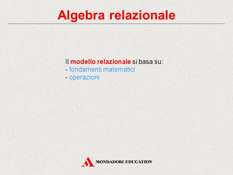 Algebra relazionale Il modello relazionale si basa su: - fondamenti matematici - operazioni