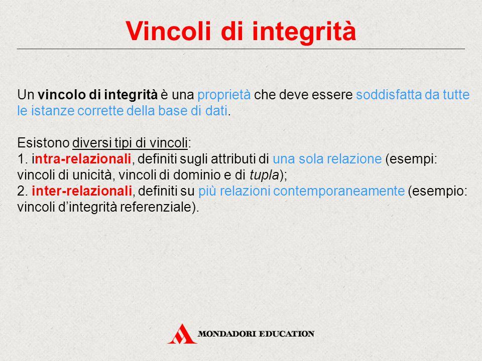 Vincoli di integrità Un vincolo di integrità è una proprietà che deve essere soddisfatta da tutte le istanze corrette della base di dati. Esistono div