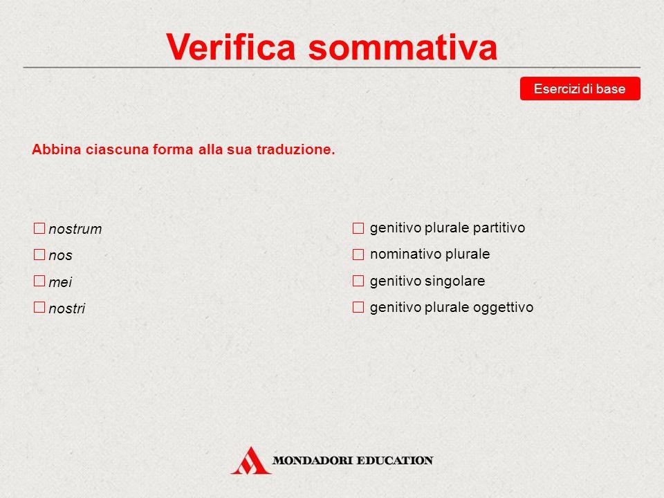 Verifica sommativa Scegli la traduzione corretta della forma tecum.