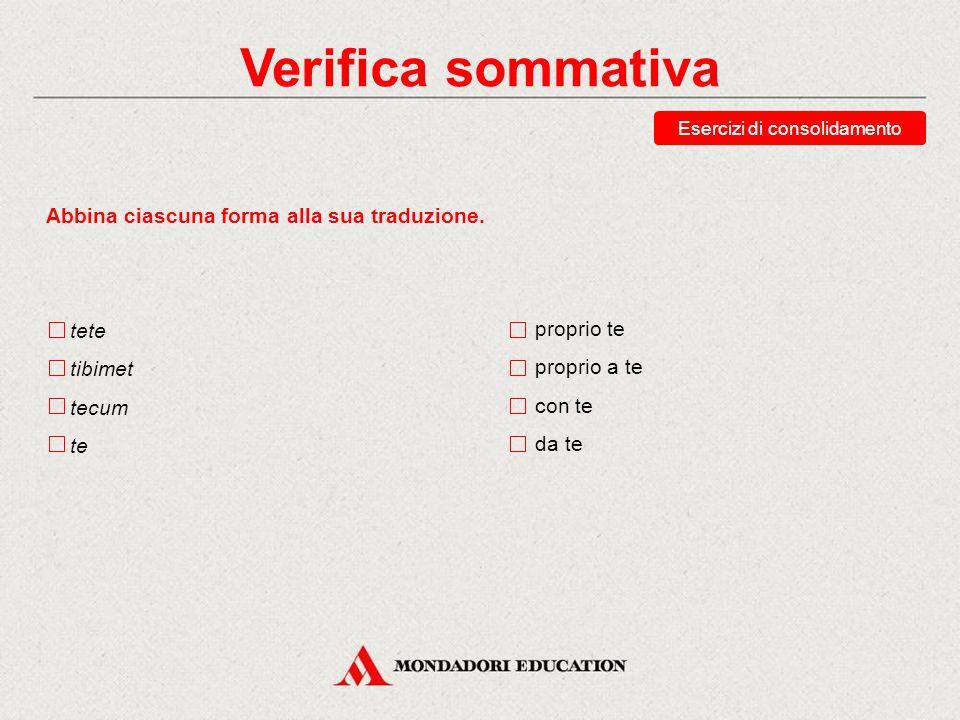 Verifica sommativa Abbina ciascuna forma alla sua traduzione.