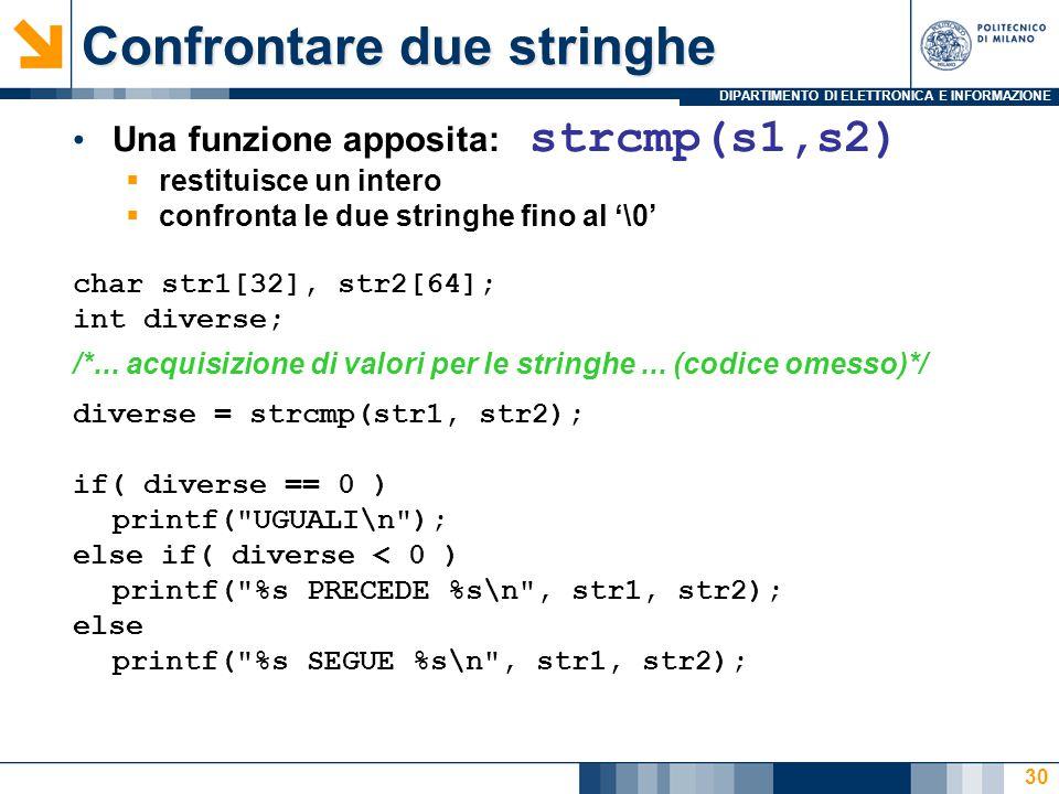 DIPARTIMENTO DI ELETTRONICA E INFORMAZIONE 30 Una funzione apposita: strcmp(s1,s2)  restituisce un intero  confronta le due stringhe fino al '\0' char str1[32], str2[64]; int diverse; /*...
