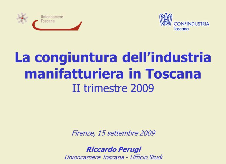 La congiuntura dell'industria manifatturiera in Toscana II trimestre 2009 Firenze, 15 settembre 2009 Riccardo Perugi Unioncamere Toscana - Ufficio Studi