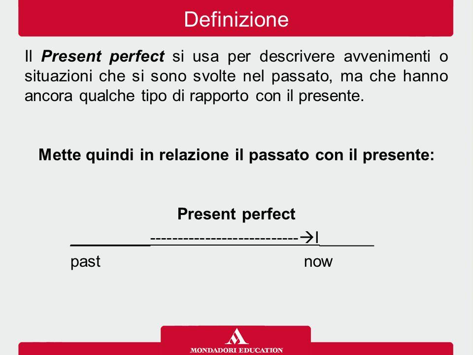 Il Present perfect si usa per descrivere avvenimenti o situazioni che si sono svolte nel passato, ma che hanno ancora qualche tipo di rapporto con il presente.