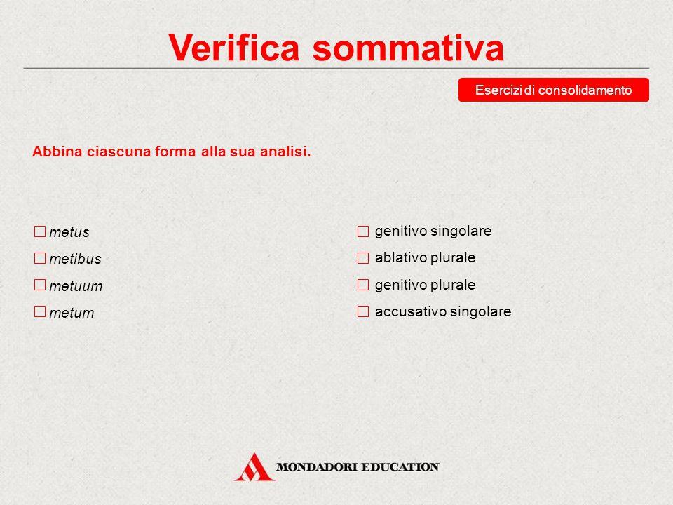 Verifica sommativa Esercizi di consolidamento Abbina ciascuna forma alla sua traduzione. senatui senatu senatum senatuum all'assemblea durante l'assem