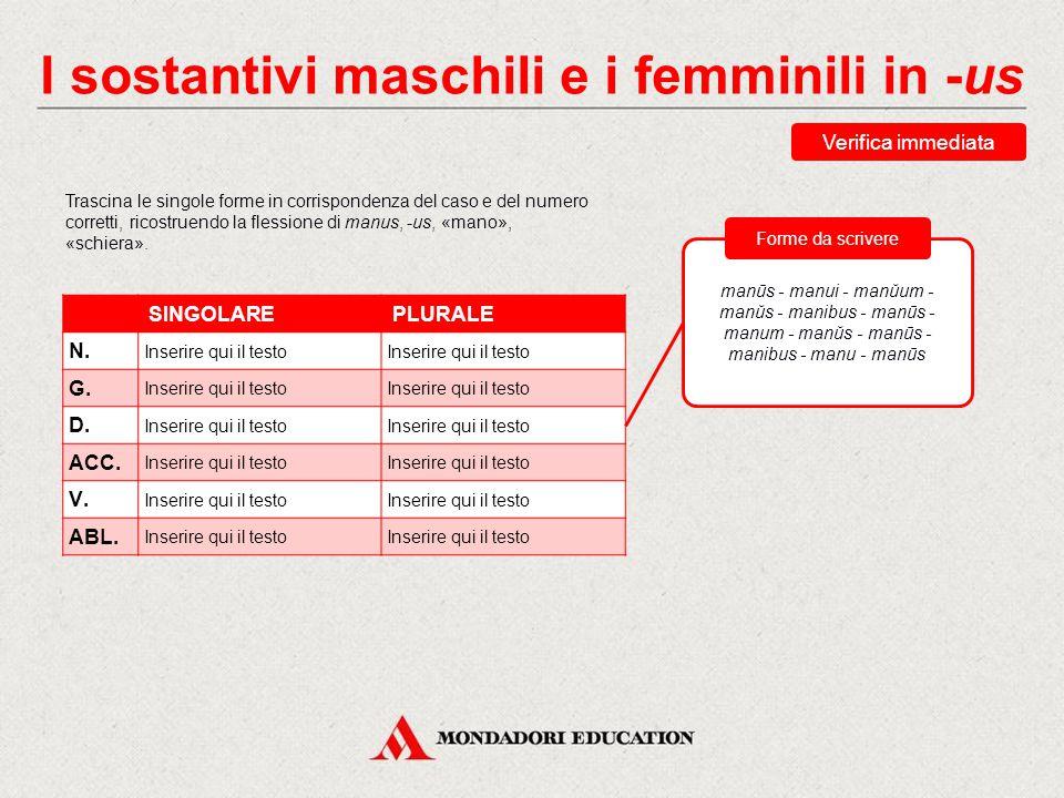 I sostantivi maschili e i femminili in -us Nella flessione, alcune forme presentano la stessa uscita: -us: nominativo, genitivo, vocativo singolare, m