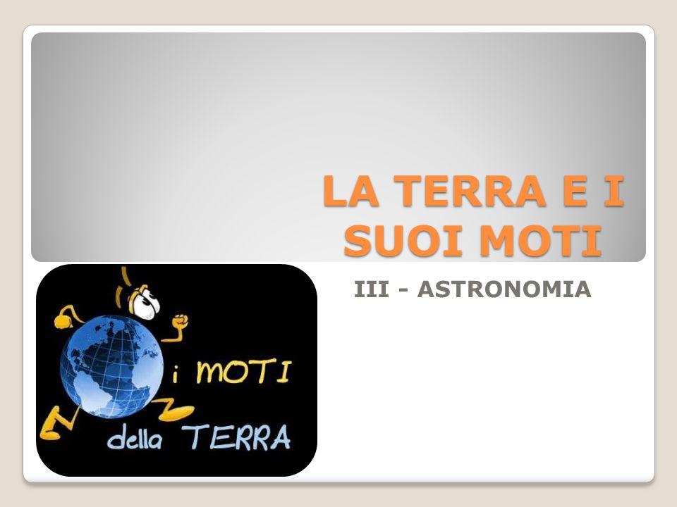 LA TERRA E I SUOI MOTI III - ASTRONOMIA