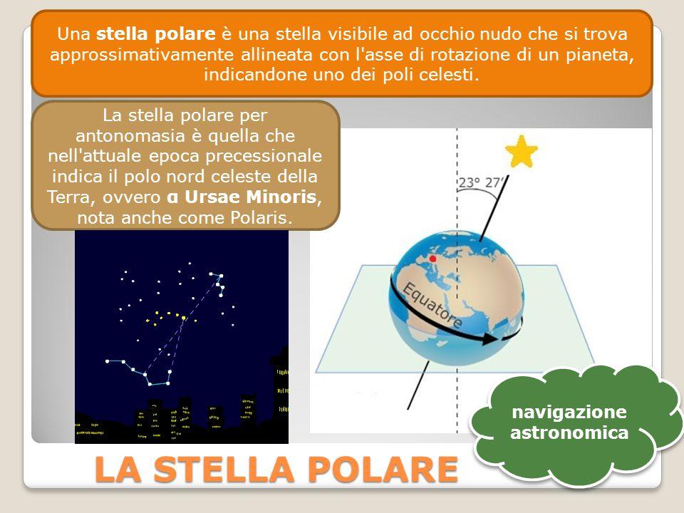 LA STELLA POLARE Una stella polare è una stella visibile ad occhio nudo che si trova approssimativamente allineata con l asse di rotazione di un pianeta, indicandone uno dei poli celesti.