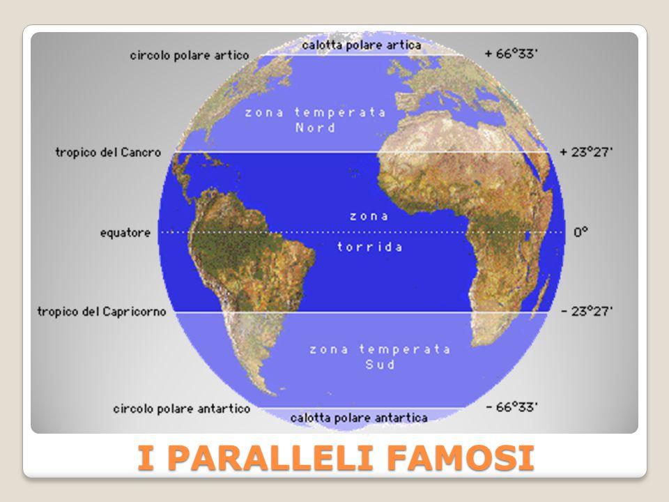 LATITUDINE È l'angolo, misurato al centro della Terra, tra il piano dell'Equatore e il parallelo cui appartiene la nostra città.