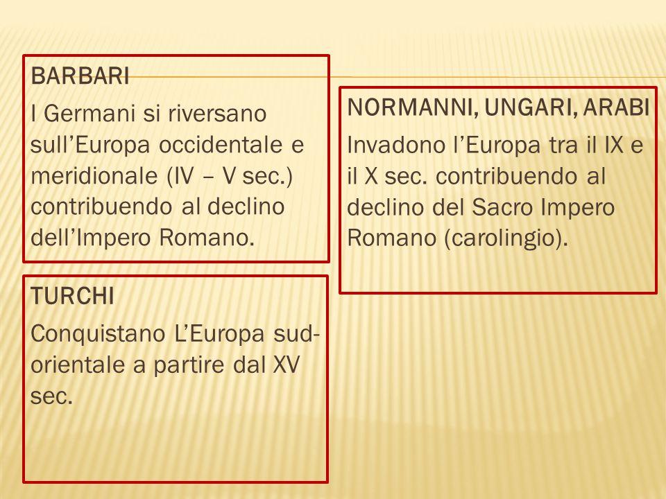 BARBARI I Germani si riversano sull'Europa occidentale e meridionale (IV – V sec.) contribuendo al declino dell'Impero Romano. NORMANNI, UNGARI, ARABI