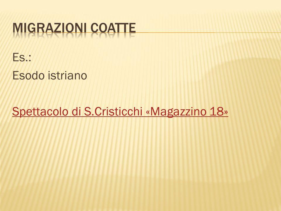 Es.: Esodo istriano Spettacolo di S.Cristicchi «Magazzino 18»