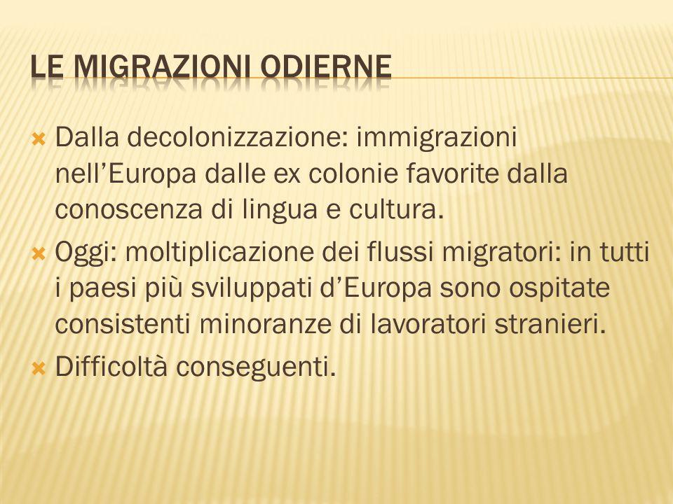  Dalla decolonizzazione: immigrazioni nell'Europa dalle ex colonie favorite dalla conoscenza di lingua e cultura.  Oggi: moltiplicazione dei flussi