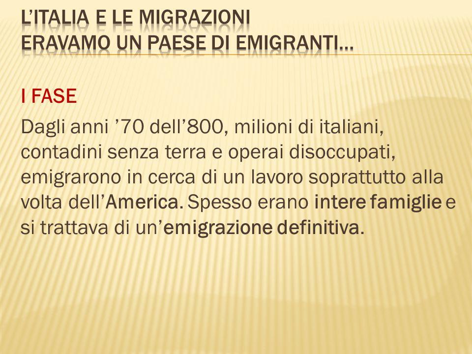 I FASE Dagli anni '70 dell'800, milioni di italiani, contadini senza terra e operai disoccupati, emigrarono in cerca di un lavoro soprattutto alla vol