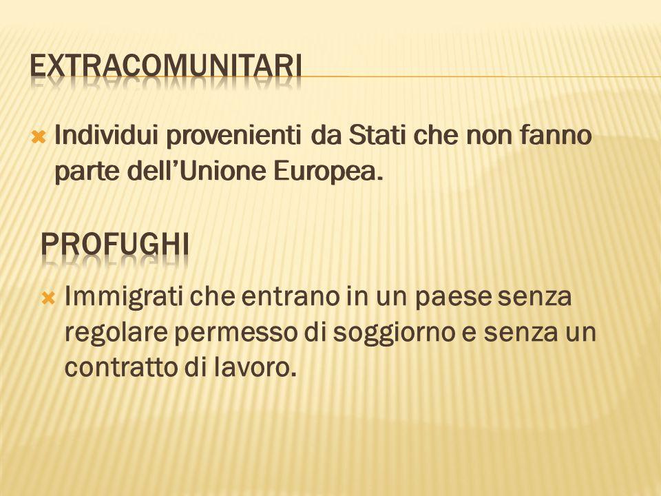  Individui provenienti da Stati che non fanno parte dell'Unione Europea.  Immigrati che entrano in un paese senza regolare permesso di soggiorno e s