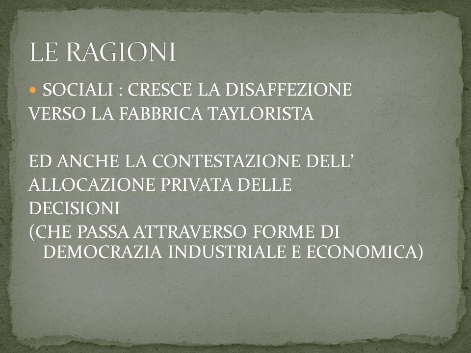 SOCIALI : CRESCE LA DISAFFEZIONE VERSO LA FABBRICA TAYLORISTA ED ANCHE LA CONTESTAZIONE DELL ' ALLOCAZIONE PRIVATA DELLE DECISIONI (CHE PASSA ATTRAVERSO FORME DI DEMOCRAZIA INDUSTRIALE E ECONOMICA)