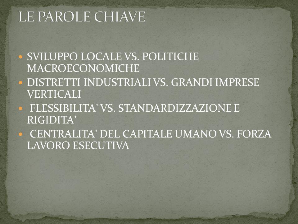 SVILUPPO LOCALE VS. POLITICHE MACROECONOMICHE DISTRETTI INDUSTRIALI VS.