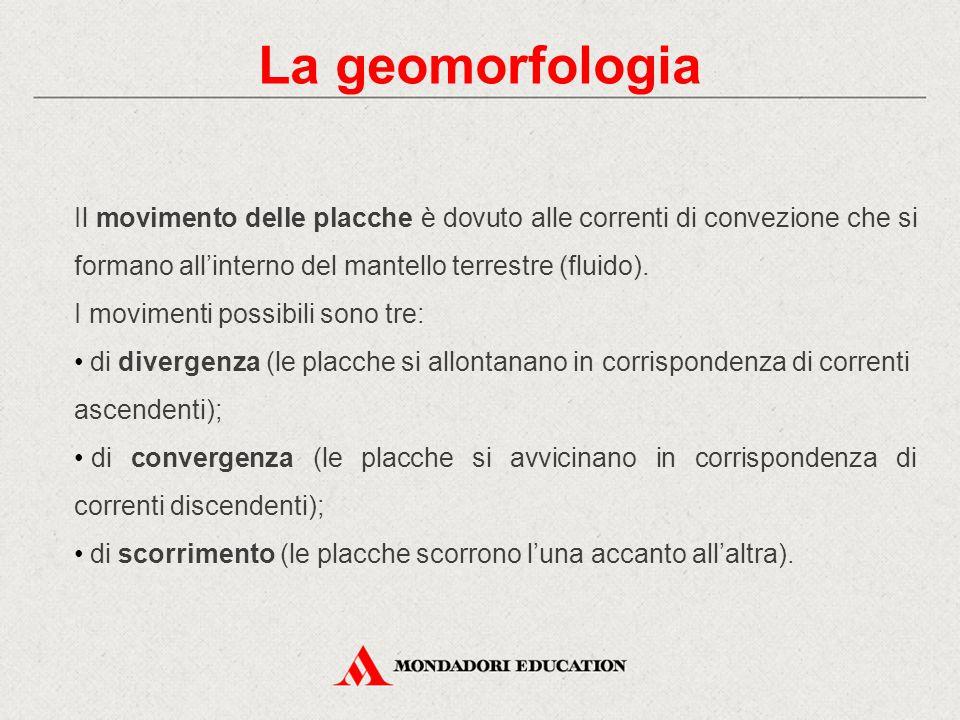 La geomorfologia Il movimento delle placche è dovuto alle correnti di convezione che si formano all'interno del mantello terrestre (fluido). I movimen