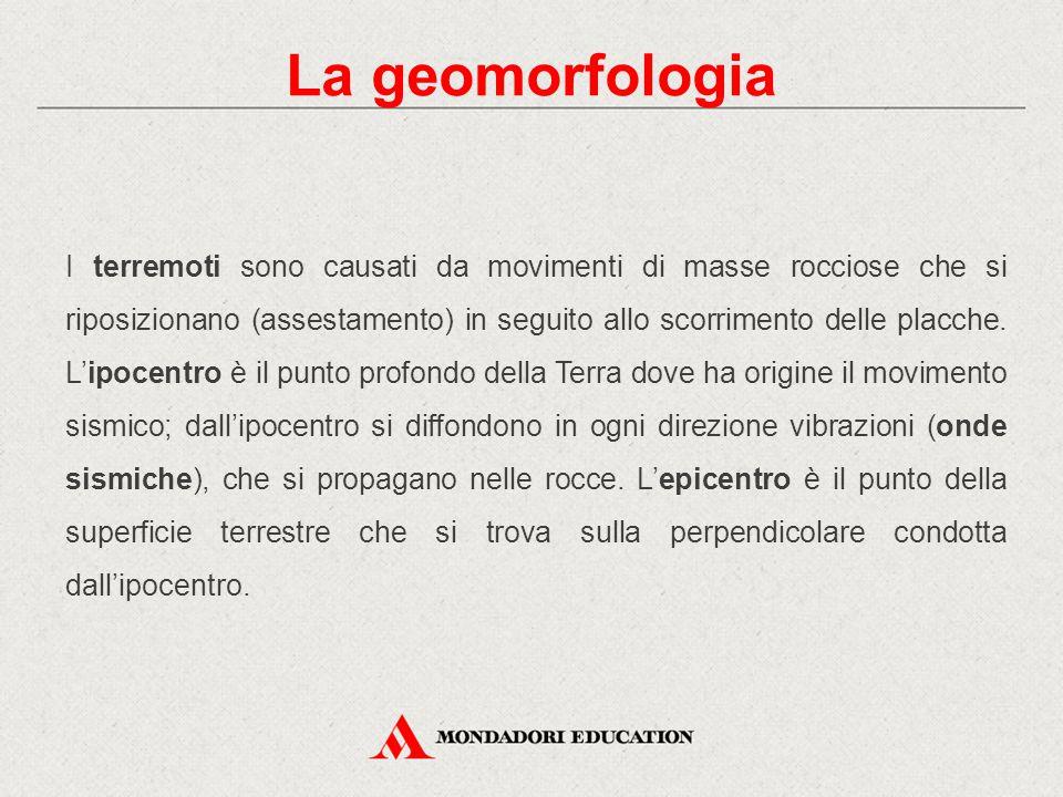 La geomorfologia I terremoti sono causati da movimenti di masse rocciose che si riposizionano (assestamento) in seguito allo scorrimento delle placche