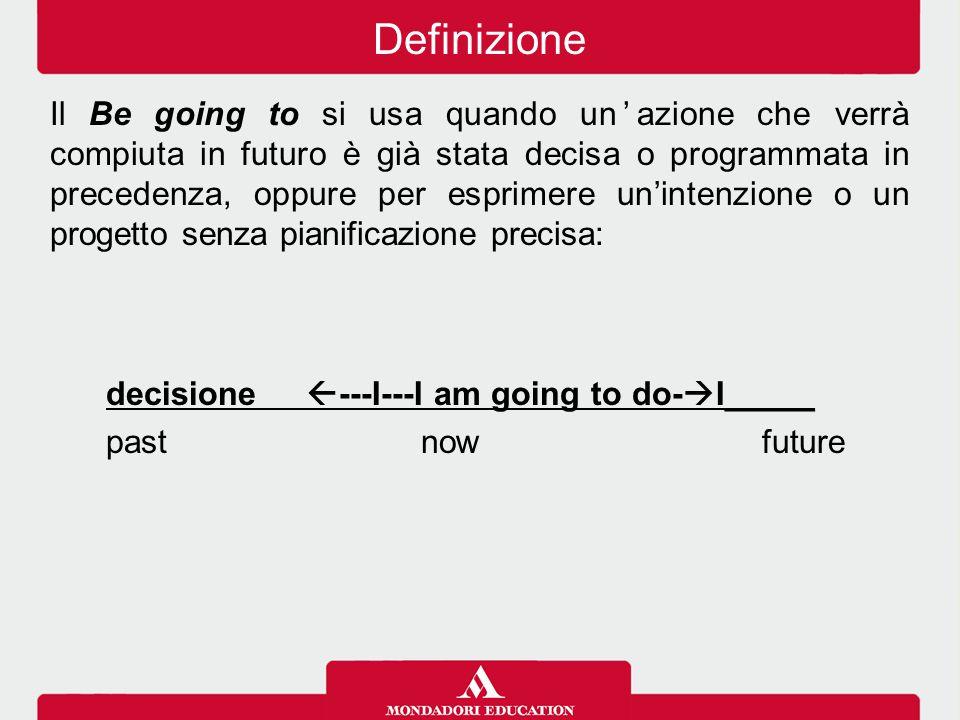 Il Be going to si usa quando un'azione che verrà compiuta in futuro è già stata decisa o programmata in precedenza, oppure per esprimere un'intenzione