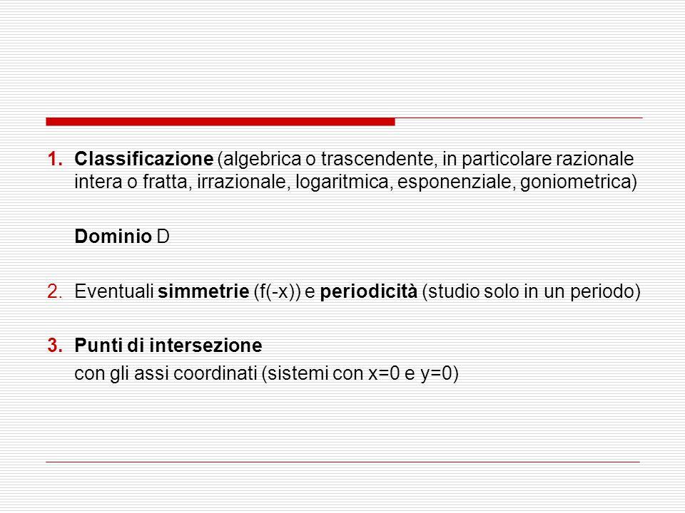 1.Classificazione (algebrica o trascendente, in particolare razionale intera o fratta, irrazionale, logaritmica, esponenziale, goniometrica) Dominio D