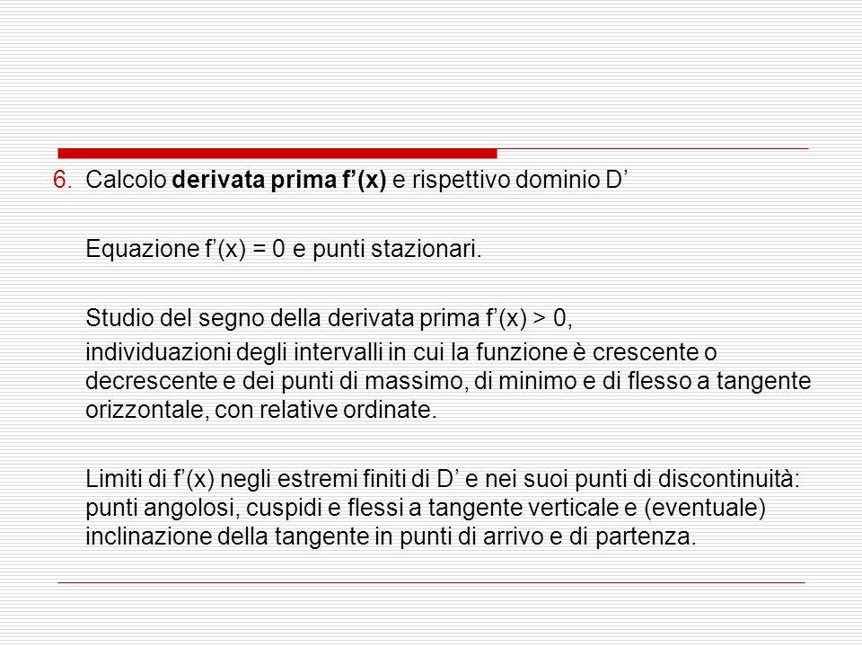 6.Calcolo derivata prima f'(x) e rispettivo dominio D' Equazione f'(x) = 0 e punti stazionari. Studio del segno della derivata prima f'(x) > 0, indivi