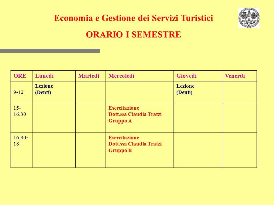 Economia e Gestione dei Servizi Turistici ORARIO I SEMESTRE ORELunedìMartedìMercoledìGiovedìVenerdì 9-12 Lezione (Denti) Lezione (Denti) 15- 16.30 Ese