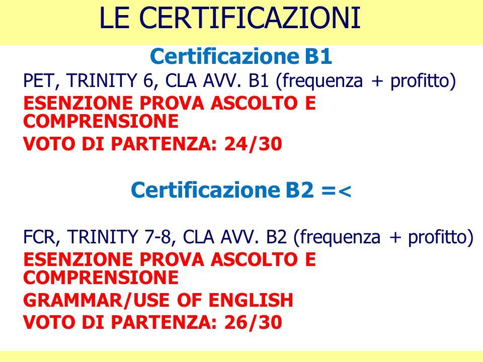 LE CERTIFICAZIONI Certificazione B1 PET, TRINITY 6, CLA AVV. B1 (frequenza + profitto) ESENZIONE PROVA ASCOLTO E COMPRENSIONE VOTO DI PARTENZA: 24/30