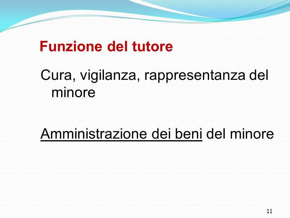 11 Funzione del tutore Cura, vigilanza, rappresentanza del minore Amministrazione dei beni del minore
