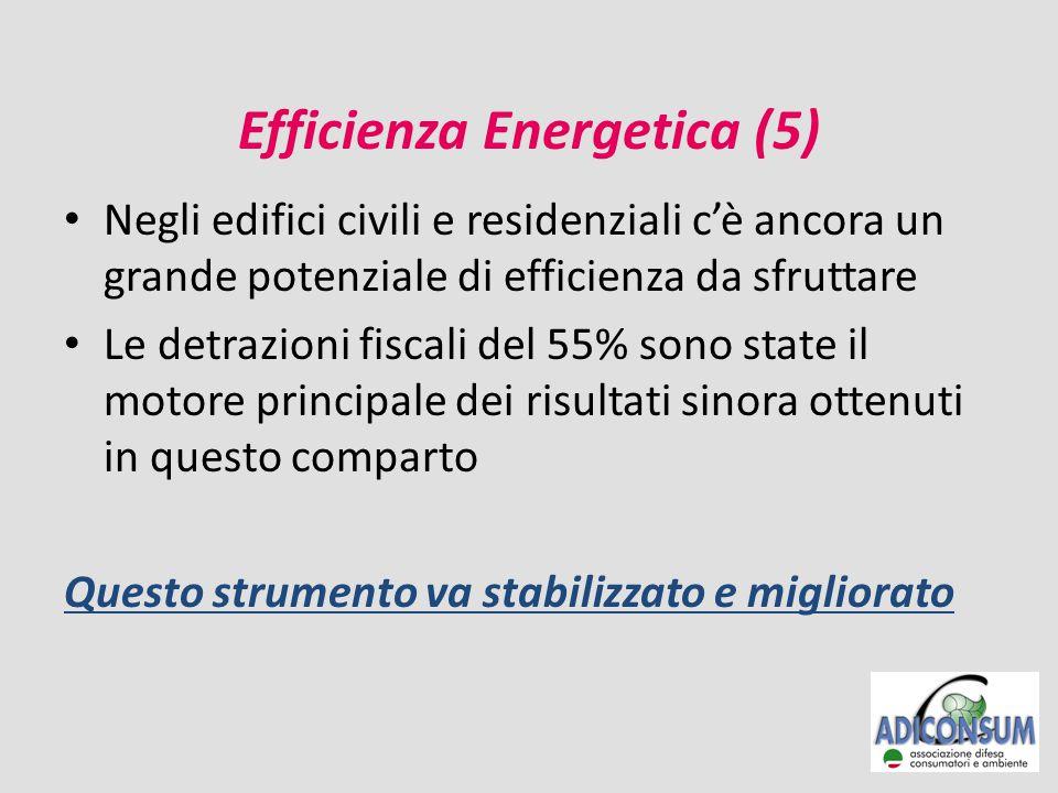 Efficienza Energetica (5) Negli edifici civili e residenziali c'è ancora un grande potenziale di efficienza da sfruttare Le detrazioni fiscali del 55% sono state il motore principale dei risultati sinora ottenuti in questo comparto Questo strumento va stabilizzato e migliorato