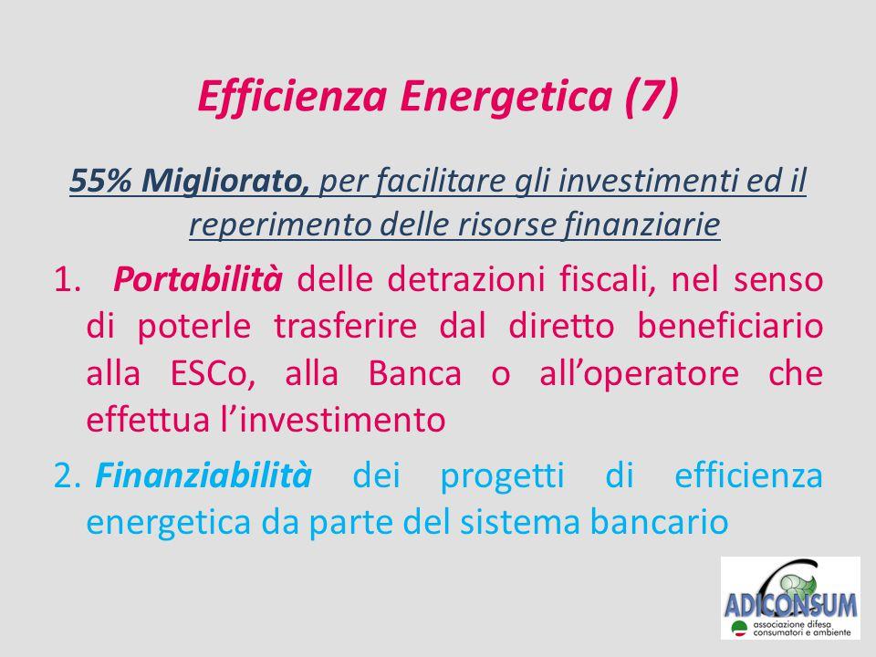 Efficienza Energetica (7) 55% Migliorato, per facilitare gli investimenti ed il reperimento delle risorse finanziarie 1.