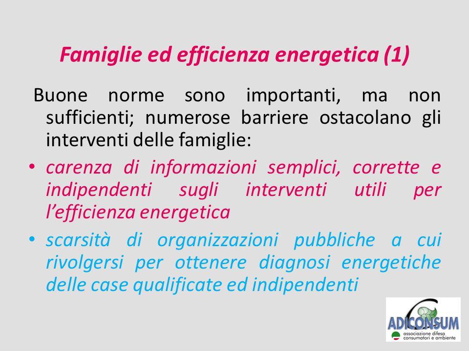 Famiglie ed efficienza energetica (1) Buone norme sono importanti, ma non sufficienti; numerose barriere ostacolano gli interventi delle famiglie: carenza di informazioni semplici, corrette e indipendenti sugli interventi utili per l'efficienza energetica scarsità di organizzazioni pubbliche a cui rivolgersi per ottenere diagnosi energetiche delle case qualificate ed indipendenti
