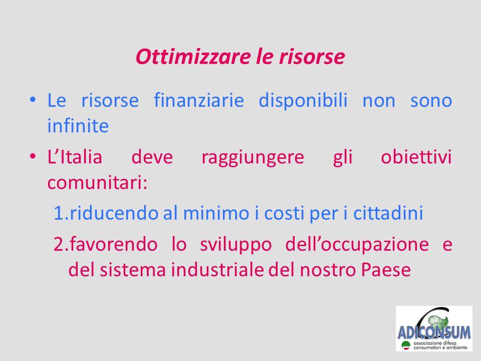 Ottimizzare le risorse Le risorse finanziarie disponibili non sono infinite L'Italia deve raggiungere gli obiettivi comunitari: 1.riducendo al minimo i costi per i cittadini 2.favorendo lo sviluppo dell'occupazione e del sistema industriale del nostro Paese