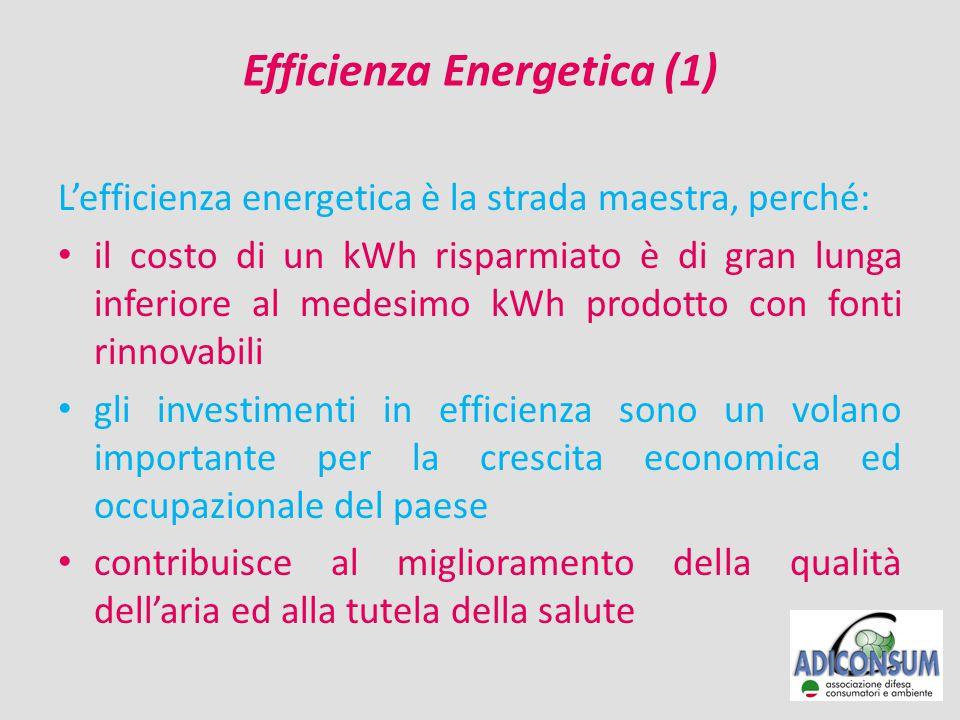 Efficienza Energetica (1) L'efficienza energetica è la strada maestra, perché: il costo di un kWh risparmiato è di gran lunga inferiore al medesimo kWh prodotto con fonti rinnovabili gli investimenti in efficienza sono un volano importante per la crescita economica ed occupazionale del paese contribuisce al miglioramento della qualità dell'aria ed alla tutela della salute