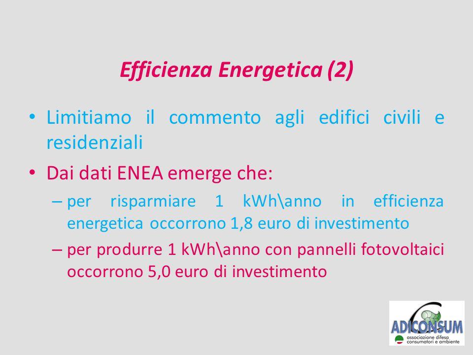 Efficienza Energetica (3) Sempre dai dati ENEA si ricava che gli 11 MLD\euro investiti in EE dalle famiglie hanno prodotto: – un aumento di oltre 31.000 occupati (sino al 2009) – un analogo fatturato per le imprese italiane Altrettanto non si può dire degli investimenti fatti per le fonti rinnovabili