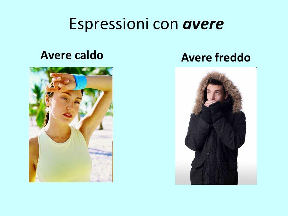 Espressioni con avere Avere caldo Avere freddo
