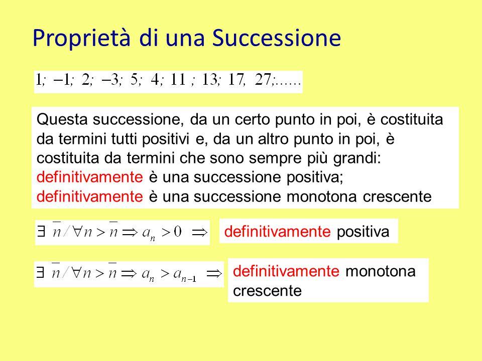 Proprietà di una Successione Questa successione, da un certo punto in poi, è costituita da termini tutti positivi e, da un altro punto in poi, è costi